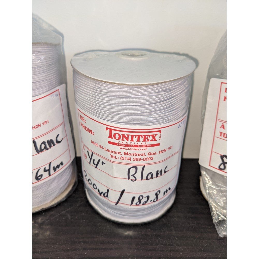 "Elastic for masks 1/4"" (white and black)"